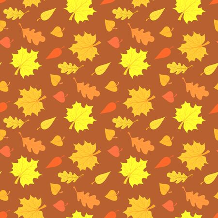 minimalistic: Fall season seamless pattern with leafs on brown background Illustration