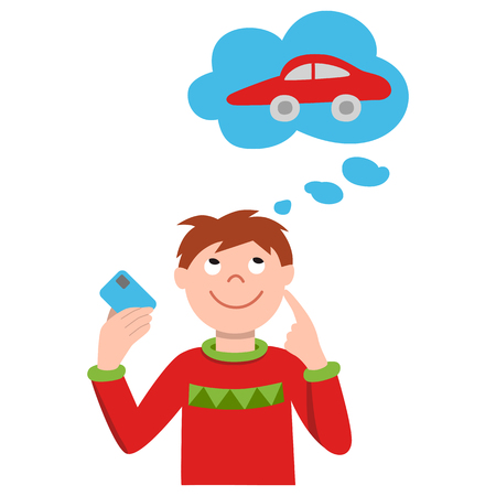 Vector illustration of smiling young man holding credit cards and planning car shopping. Simple style colour image.