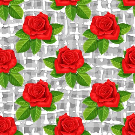 Red rose flower vector illustration seamless background. Illustration