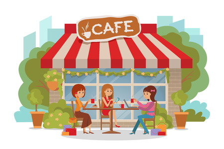girl laptop: Three beautiful friends women with shopping packages talking friendly at coffee shop while drinking coffee.