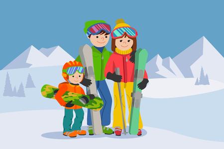 Famille heureuse, homme, femme, garçon ski dans les montagnes de neige Banque d'images - 86425853