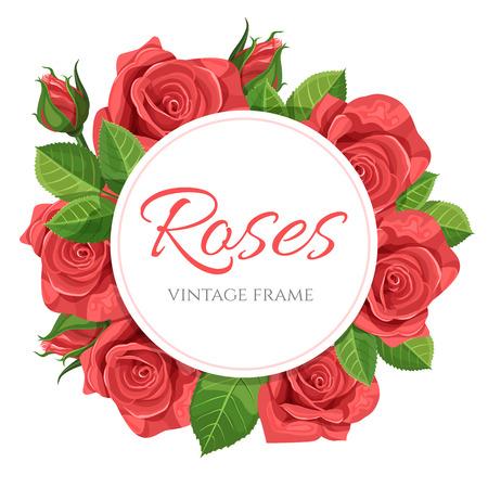 Red rose vector illustration round frame