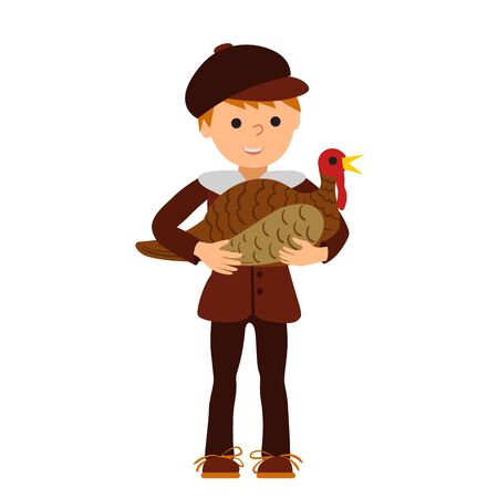 Vector illustration cute little boy holding a big turkey isolated on white background for Happy Thanksgiving Day celebrations.