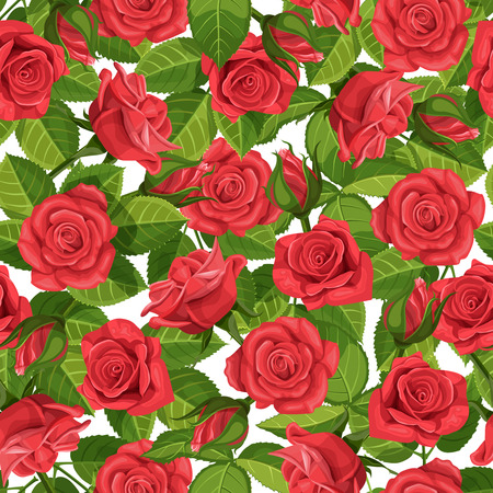 Red rose vector illustration seamless background.
