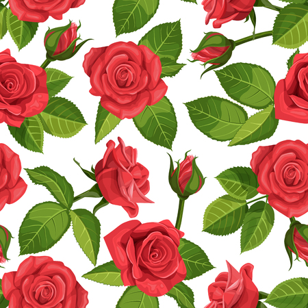 ongoing: Red rose vector illustration seamless background.