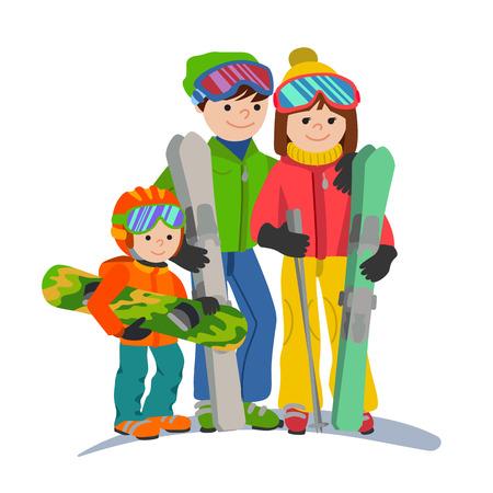 山の家族スキー休暇。イラスト カップル親と子冬分離スポーツ ホワイト バック グラウンドはフラット スタイルです。