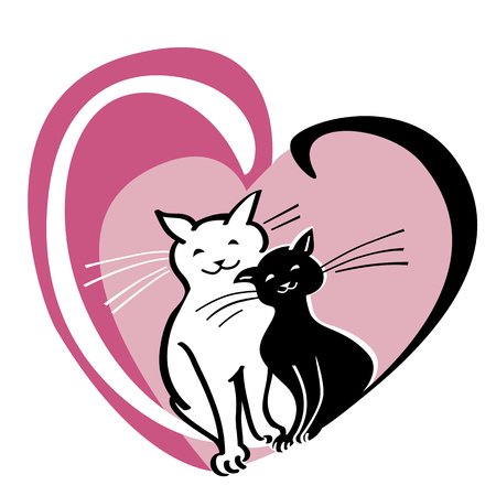 Vector card with Valentine s day concept, two cats in the heart