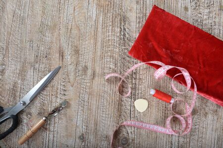 Sewing tools and sewing supplies accessories sewing on the table. Zdjęcie Seryjne