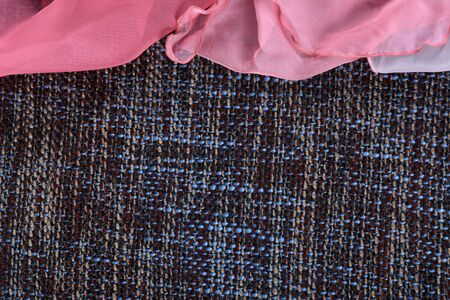 Gently pink silk fabric on the gray background, template Zdjęcie Seryjne