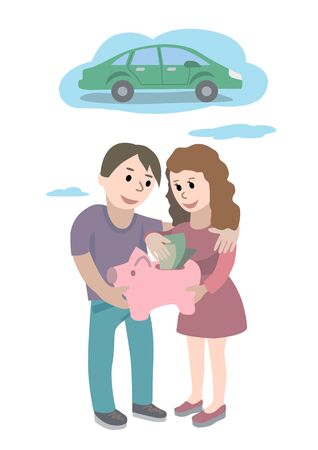 Man and woman holds piggy bank in their hand and dreams about car. Saving and investing money concept. Future financial planning concept vector