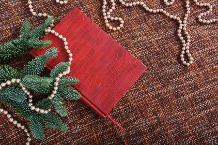 Holiday decoration with pearls, pearl beads, fir-tree branches and red book. Background, copy space. Фото со стока