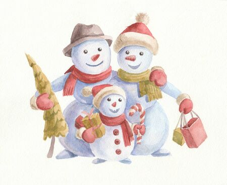 Watercolor Christmas illustration with cute snowmen, Christmas tree and gifts. Family on white background. Merry Christmas and Happy New Year wishes card.