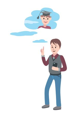 Man with smartphone and banknote in hands has a lot of of task business concept. Vector flat design