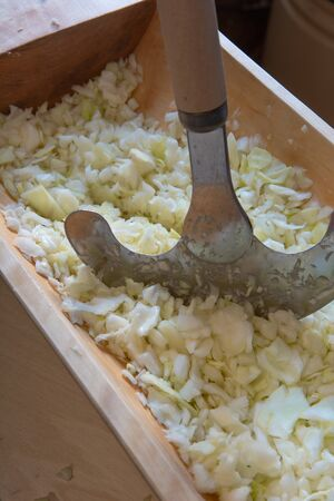 Pickling cabbage. Sauerkraut cooking. Chaff, a wooden trough.