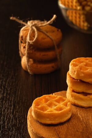 Waffle round-shaped biscuits on the table