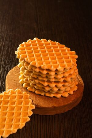 Wafer biscuits on the table. close-up photo