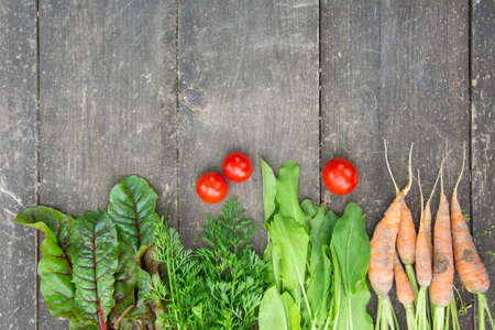 Beetroot leaves, young carrot, fresh tomatoes leaves and sorrel on the surface of an old wooden table