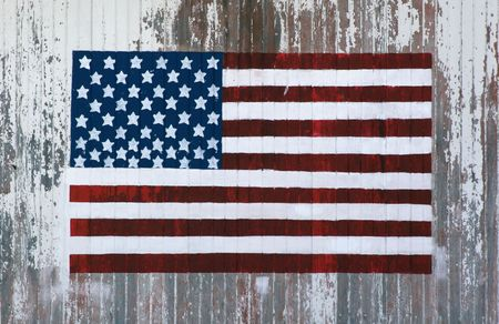 handpainted flag on the side of a barn photo