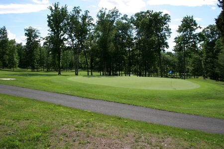Golf green with flag and cart path