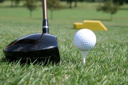 Driver and golf ball on tee