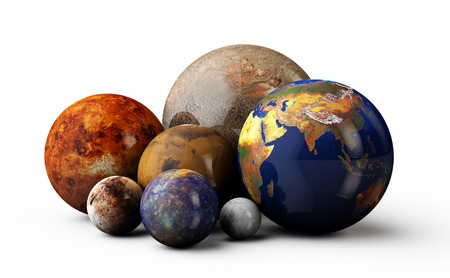 3d planets: The 3D planets Earth, Mars, Moon, Jupiter, Pluton, mercury, on the white background Stock Photo
