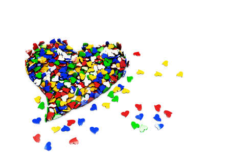 heterosexual: Small hearts as a heart on the white background
