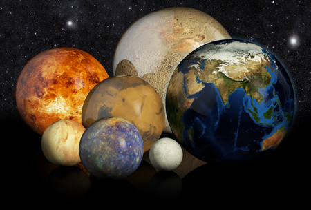 3d planets: 3D planets Earth, Mars, Moon, Jupiter, Pluton, mercury, on the black background Stock Photo