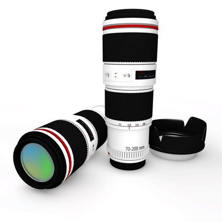 'no people': Camera Lens on a white background