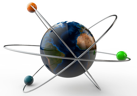 Earth in the atome on a white background Stock Photo