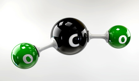 Een 3D-afbeelding co2-molecuul op een grijze achtergrond Stockfoto