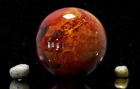 moons: 3d illustration of Mars of moons and star. Stock Photo