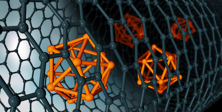 3D illustration of Graphene atomic structure - nanotechnology background illustration Imagens