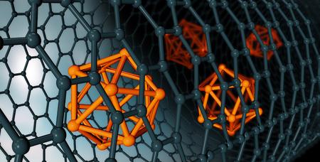 3D illustration of Graphene atomic structure - nanotechnology background illustration Stock Photo