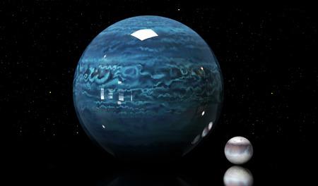 neptun: 3d illustration of Neptunes moons and star.