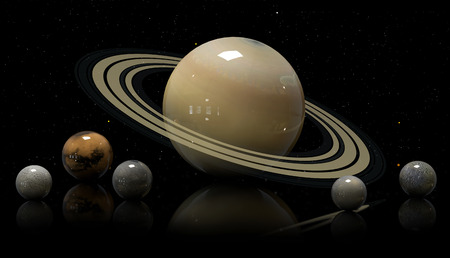 moons: Saturns moons and star.