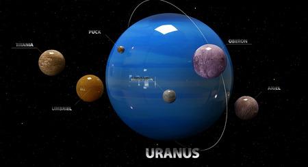 moons: 3d illustration of Uranuss moons and star. Stock Photo