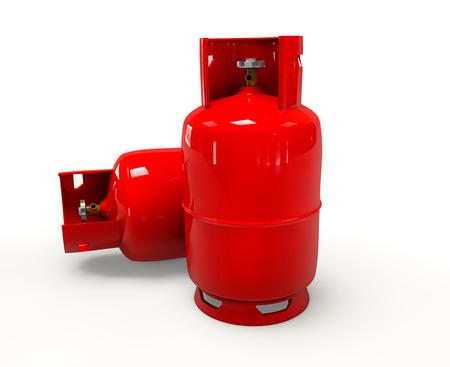 Botella de gas en 3D sobre fondo blanco