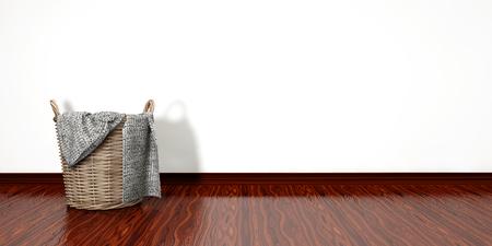 household chore: Full laundry basket. Household chore concept on white background