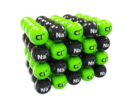 Natriumchloride rotszout, haliet, tafelzout, kristalstructuur. Na Cl
