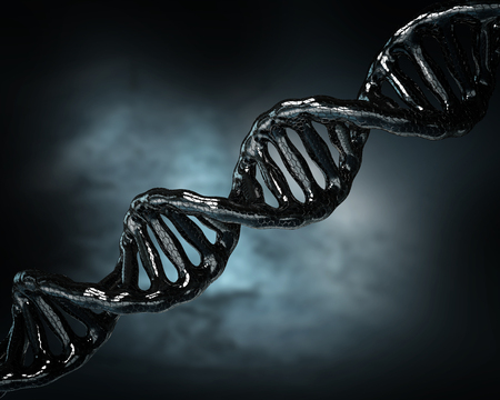 3d illustration Concept of biochemistry with dna molecule on blue background Stock Photo