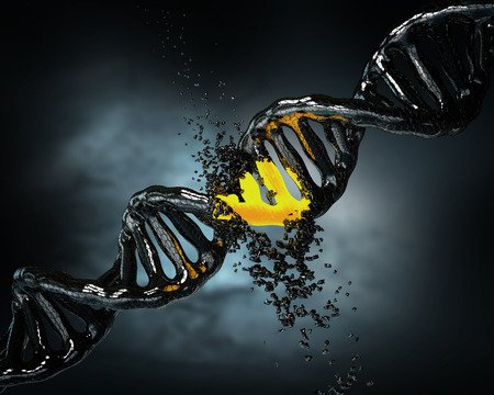 3d illustration Concept of biochemistry with collapse dna molecule on blue background