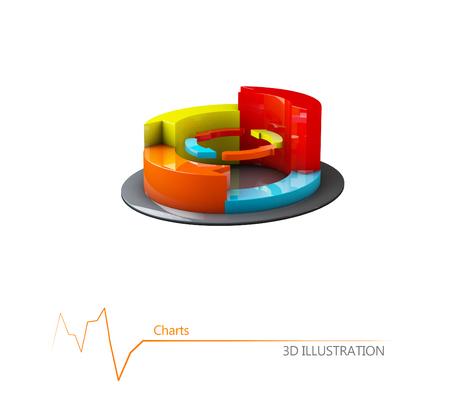 grafica de barras: 3d Ilustración de negocio colorido gráfico, informes y presentaciones