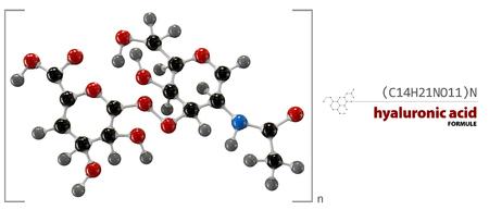 3D-afbeelding van Hyaluronzuur chemische formule Stockfoto