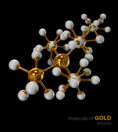 dna sequencing: 3D Illustration, Gold Molecule isolated black background