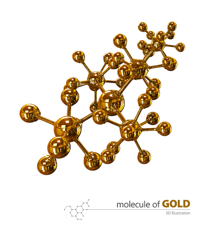 3D Illustration, Gold Molecule isolated white background Stockfoto