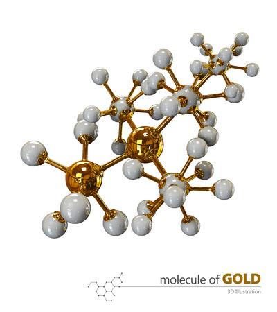 3D Illustration, Gold Molecule isolated white background Stock Photo