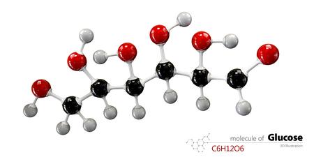 3d Illustration of Colorized Glucose molecule. Glucopyranose.
