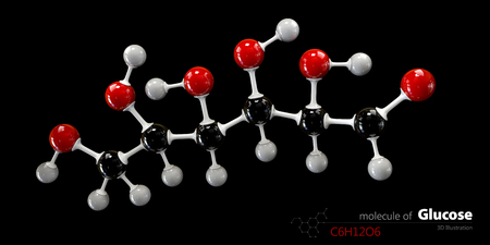 glucose: 3d Illustration of Colorized Glucose molecule. Glucopyranose.