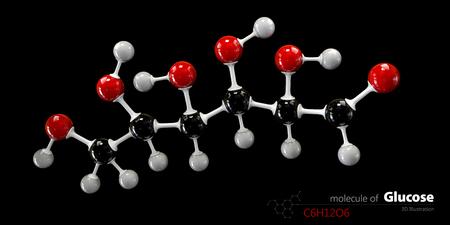 sugar metabolism: 3d Illustration of Colorized Glucose molecule. Glucopyranose.