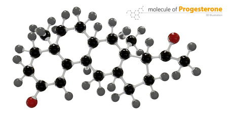 progesterone: 3d Illustration of Progesterone Molecule isolated white background